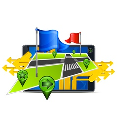 gps navigator stylized angles map vector image vector image