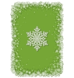 Green Christmas frame with snowflakes vector image vector image