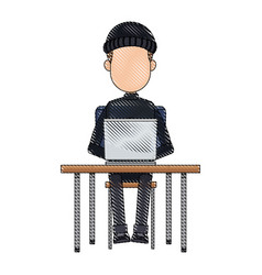 Hacker in hoodie sitting with laptop vector