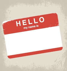 Hello my name is label design vector