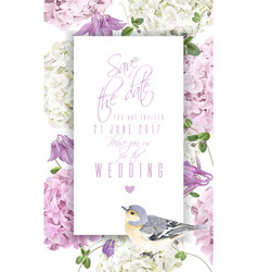 Hydrangea bird vertical banner vector