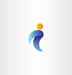 letter i man icon orange blue logo logotype symbol vector image
