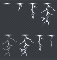 lighting thunderbolt set isolated on transparent vector image vector image