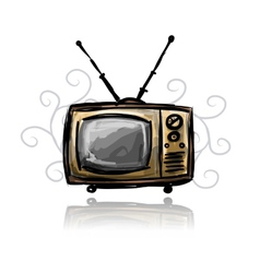 Retro tv sketch for your design vector image