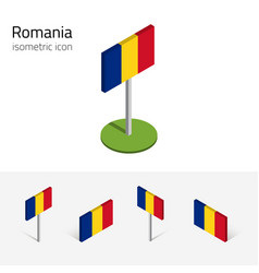 romania flag set of 3d isometric icons vector image vector image