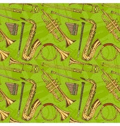 Seamless Pattern With Wind Musical Instruments vector image