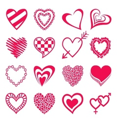 Set of heart shaped icons vector image
