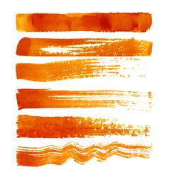 set of orange brush strokes vector image vector image