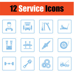 set of twelve service station icons vector image vector image