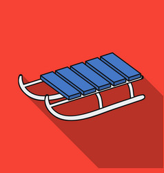 sled icon in flate style isolated on white vector image vector image