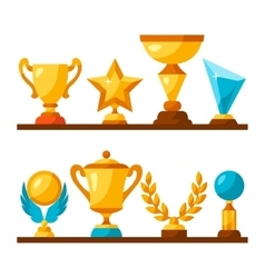 Sport or business trophy award icons set on vector