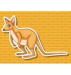 Sticker of kangaroo on yellow background vector image