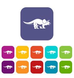 styracosaurus icons set flat vector image