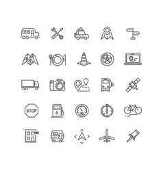 Travel road traffic and location line vector image