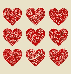 Tribal hearts vector image vector image