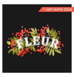 Vintage autumn floral graphic design - for t-shirt vector