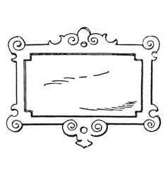 Wrought-iron signs strap-work tablet was used in vector