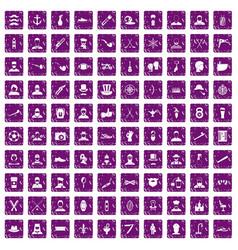 100 beard icons set grunge purple vector