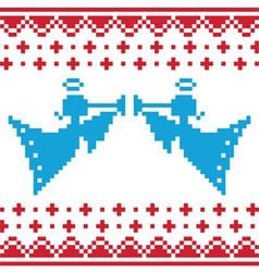 Knitted christmas angles card on seamless vector image