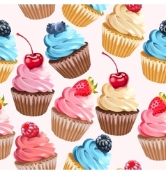 Seamless cupcakes and polka dot vector image