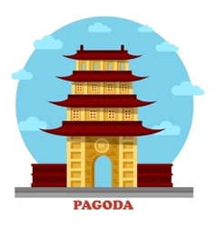 Religious pagoda or tiered tower with eaves vector