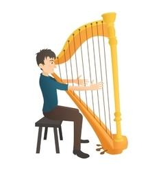Man plays on harp icon flat style vector