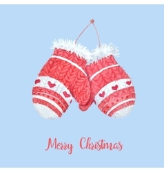 Cute knitted mittens vector