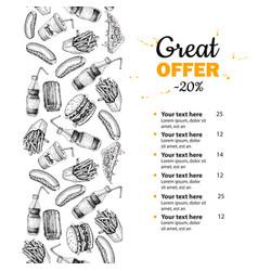 fast food hand drawn menu hand drawn junk vector image