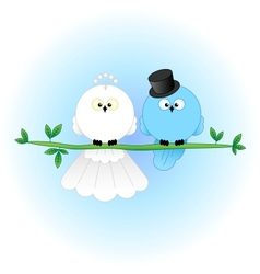 Stylish bride groom birds vector