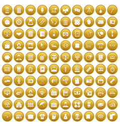 100 department icons set gold vector