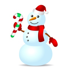 Traditional snowman with candy cane vector