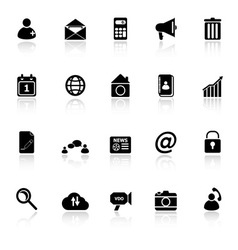 Mobile phone icons with reflect on white vector