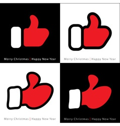 Set of red mitten thumb up icons vector