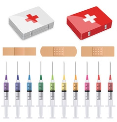 First aid plasters and syringes vector