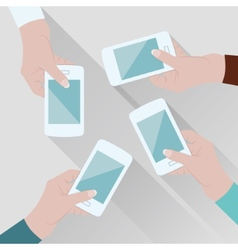 Hands with phones vector