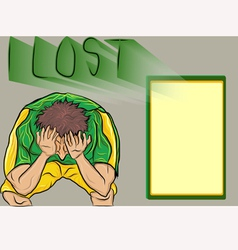 People lost footballsad football fan vector