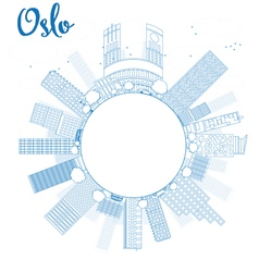 Outline oslo skyline with blue building vector