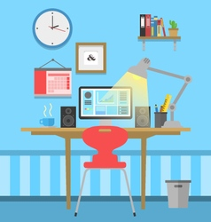 Workspace flat design vector