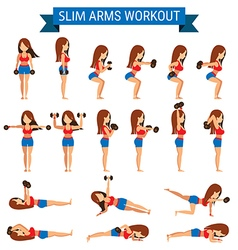 Set of cardio exercise for slim arms workout or vector