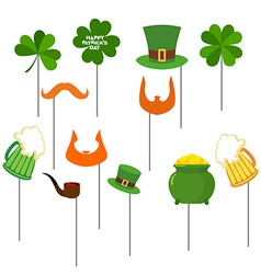 Patricks day set photo props for photo shoot vector