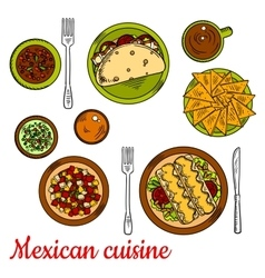 Mexican cuisine icon with taco nachos enchiladas vector