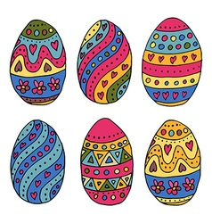 Hand sketched easter eggs as easter badges and vector