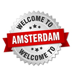 Amsterdam 3d silver badge with red ribbon vector