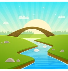 Landscape with stone bridge vector
