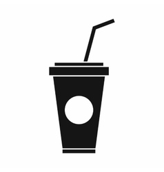 Paper cup with straw icon simple style vector