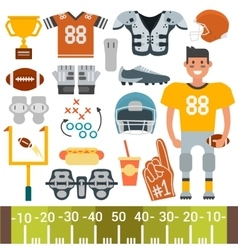 American football player and icons cartoon vector image vector image
