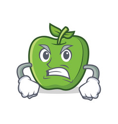 Angry green apple character cartoon vector