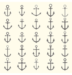 Big set of anchors anchor symbols or logo template vector