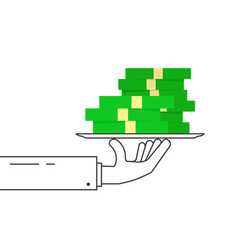 black linear hand with pile of money on dish vector image