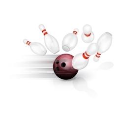 Bowling ball crashing into the pins vector image vector image